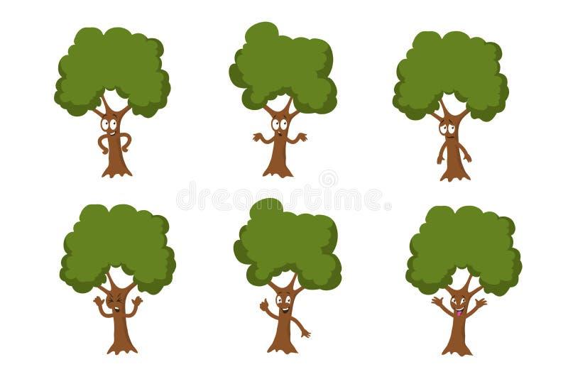 Caracteres verdes divertidos del vector del árbol de la historieta aislados libre illustration