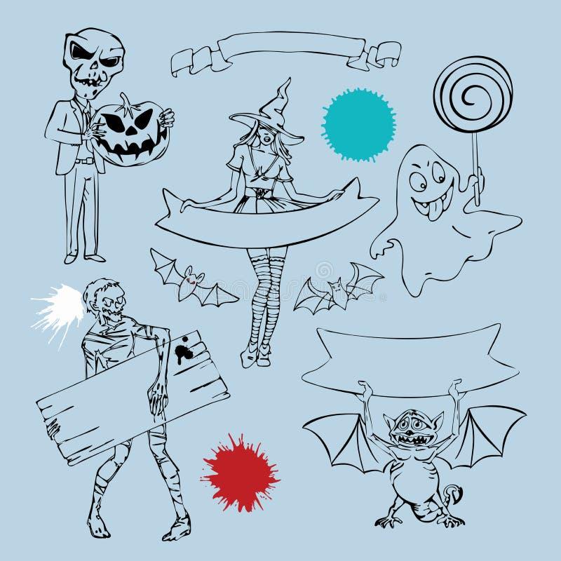 Caracteres y elementos del gráfico para el diseño de Halloween stock de ilustración