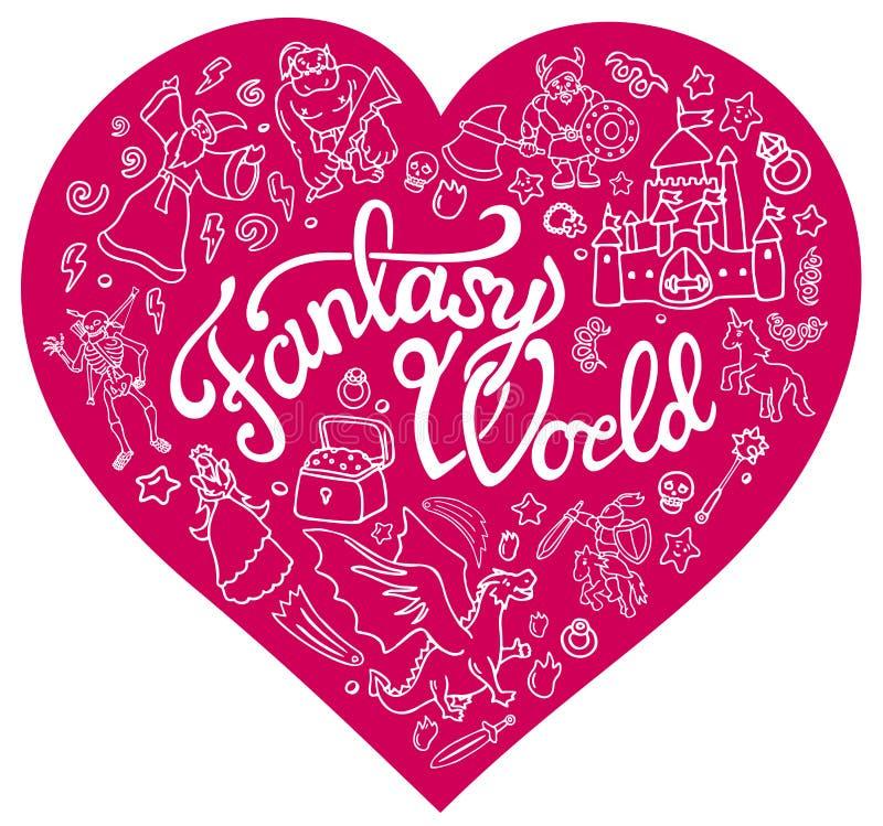 Caracteres y símbolos de la fantasía en el corazón rosado stock de ilustración