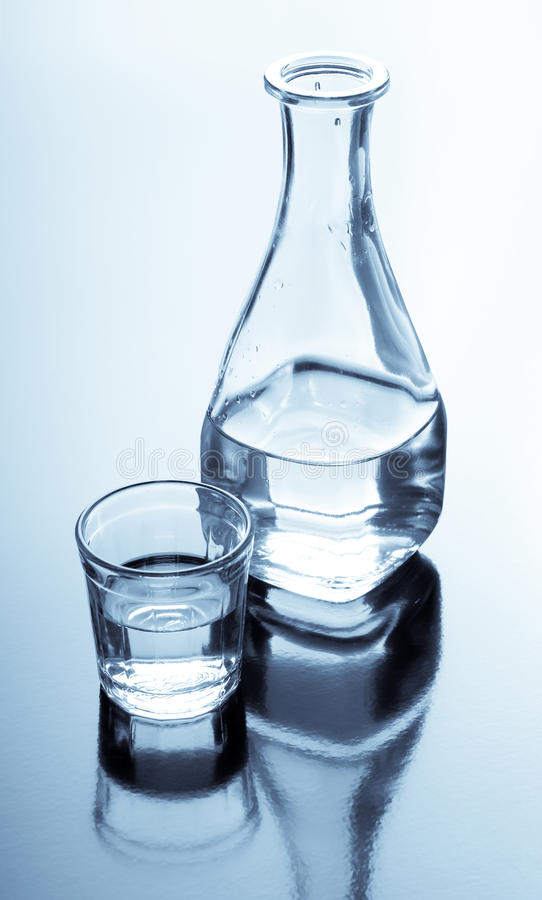 Carafe und Glas mit alkoholischem Getränk stockfoto