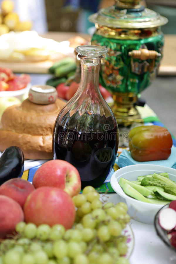 Carafe with wine. On a table at buffet stock photos
