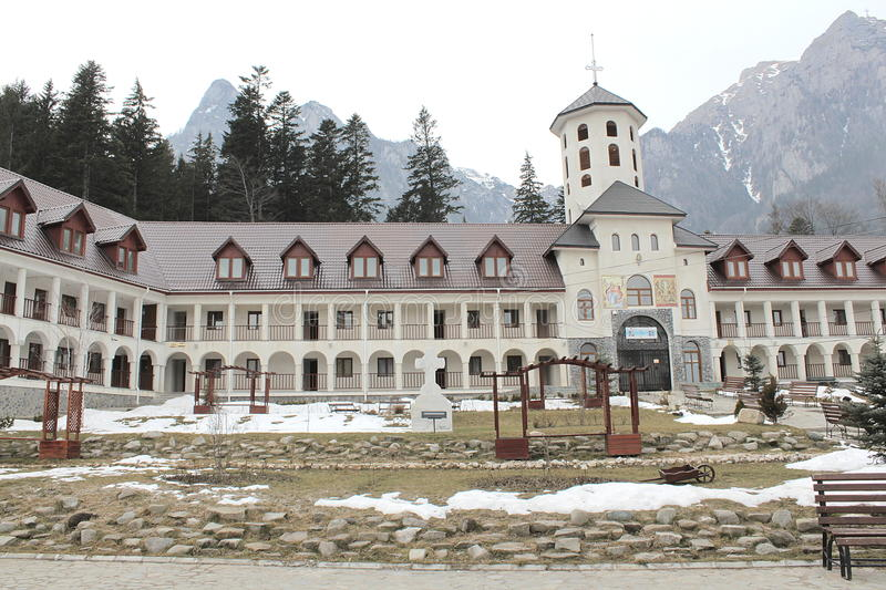 Caraiman monastery from Busteni Romania yard view royalty free stock images