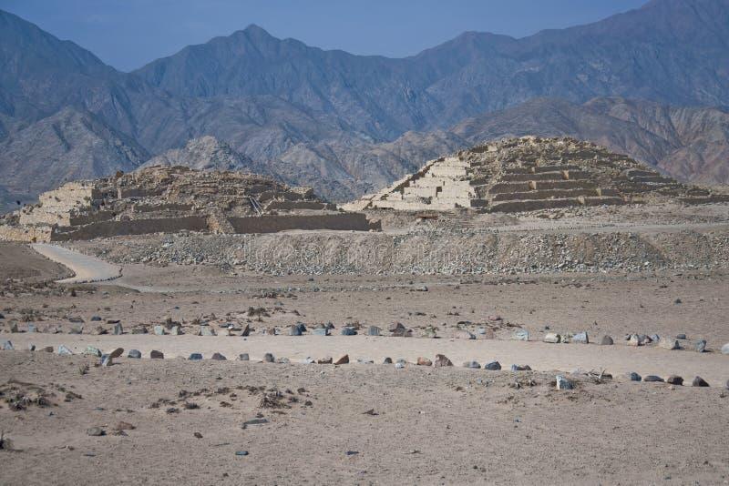 Caral失去的金字塔  免版税库存照片