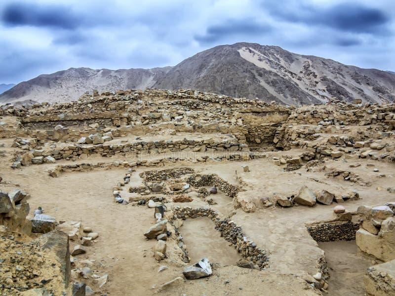 Caral,秘鲁 免版税库存照片