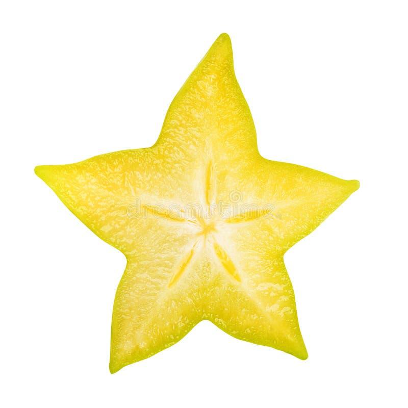Carambola gwiazdowej owoc plasterek odizolowywający zdjęcia stock