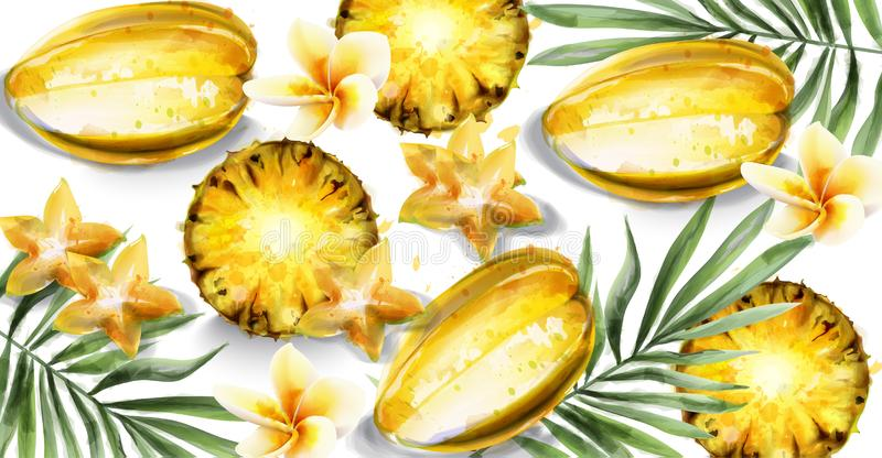 Carambola star fruit and pineapple slices Vector watercolor. Tropic juicy banner posters. Carambola star fruit and pineapple slices Vector watercolor. Tropic royalty free illustration