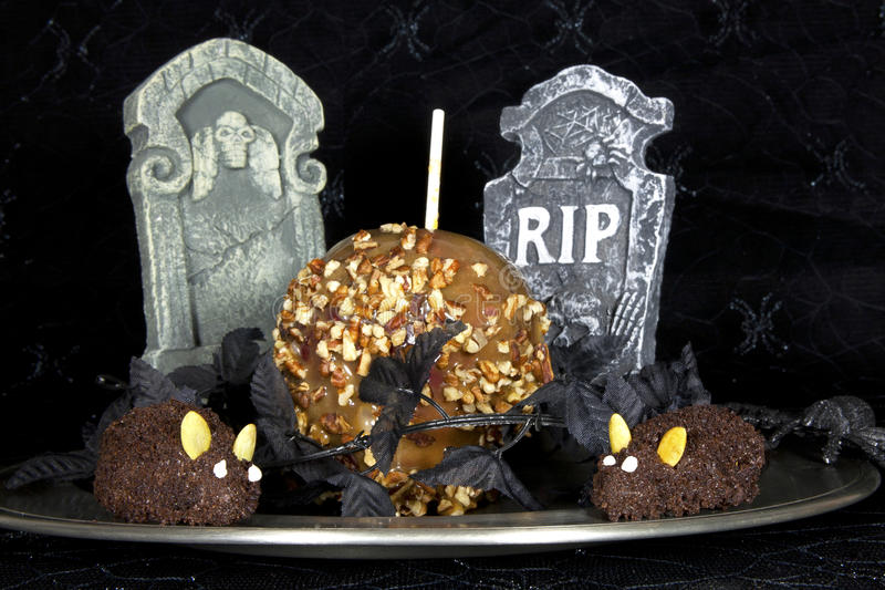 Caramel Apple with Chocolate Mice royalty free stock photo
