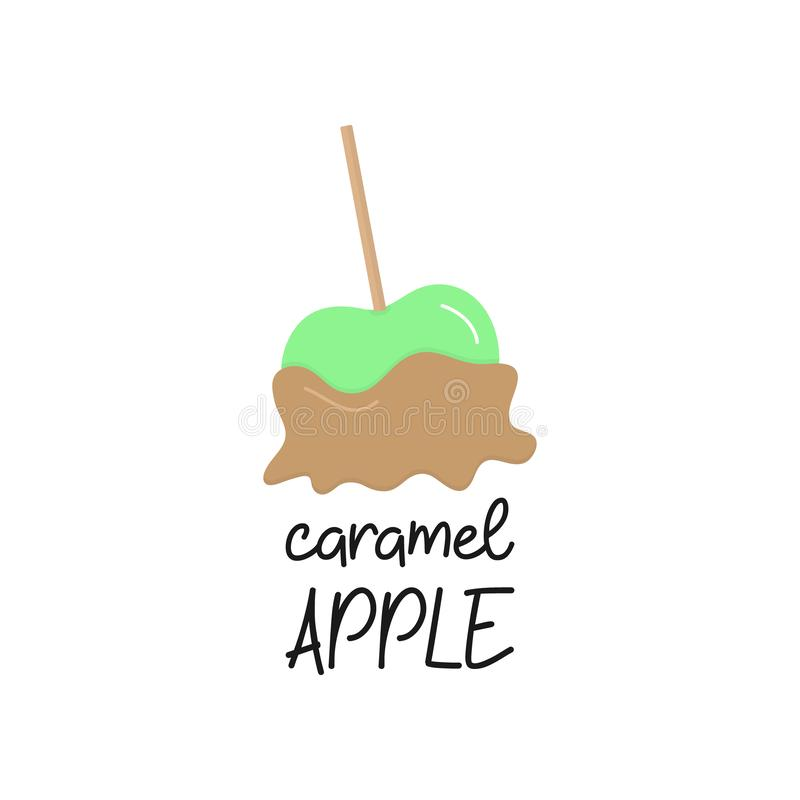Caramel Apple Vector Illustration With Writing Stock Vector Illustration Of Carnival Drawn 147058004