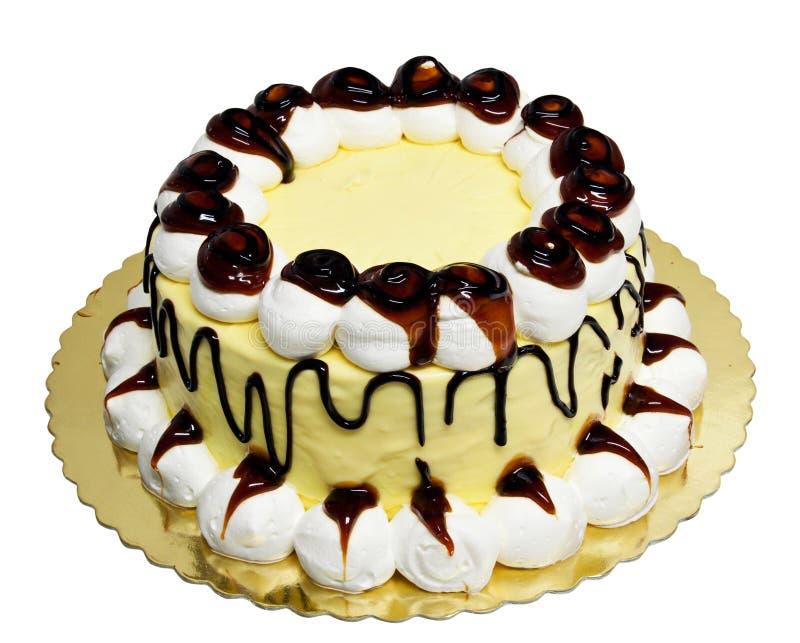 Caramel cake with cream royalty free stock image