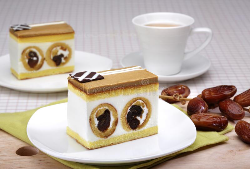 Caramel cake with date fruit royalty free stock images