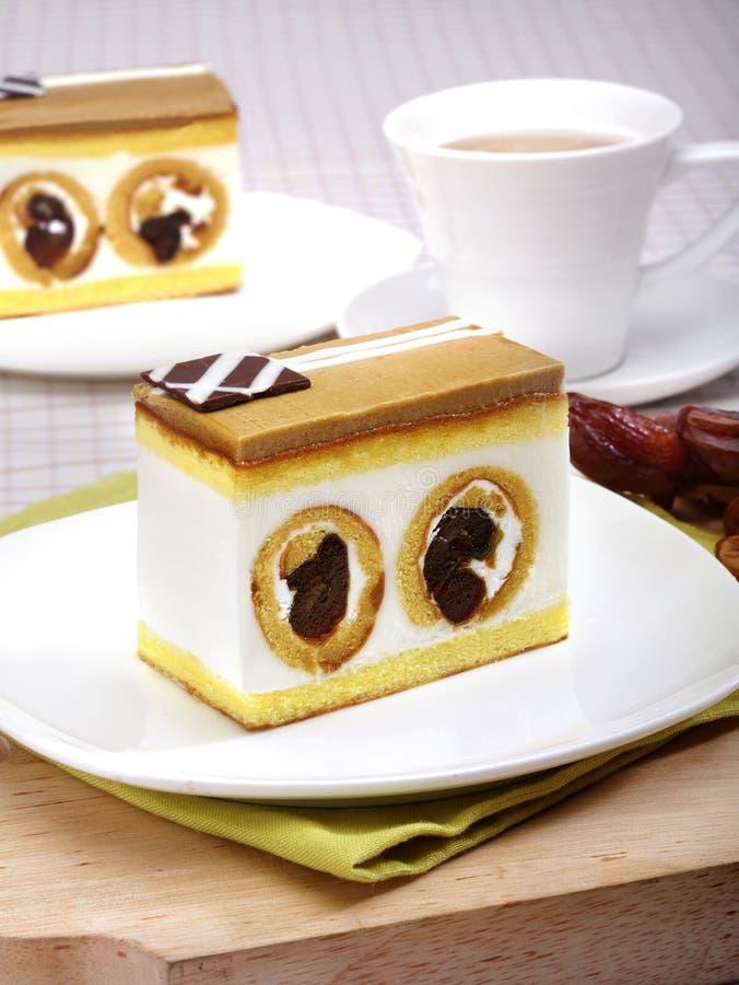 Caramel cake with date fruit royalty free stock image