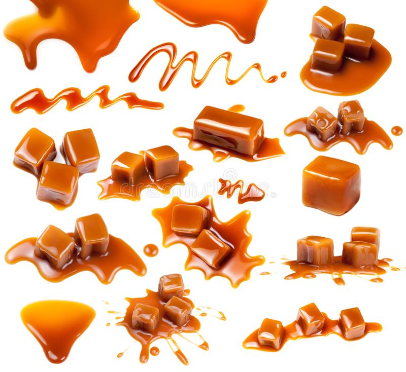 Caramel candies Isolated. Caramel pieces with  sauce on a white background, set. Collection of Sweet Butterscotch toffee stock photography