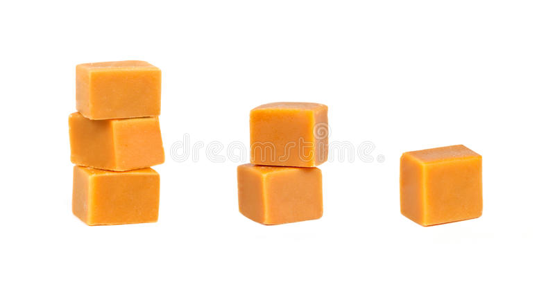 Caramel candy. Different groups of caramel candy, isolated on a white background stock photography