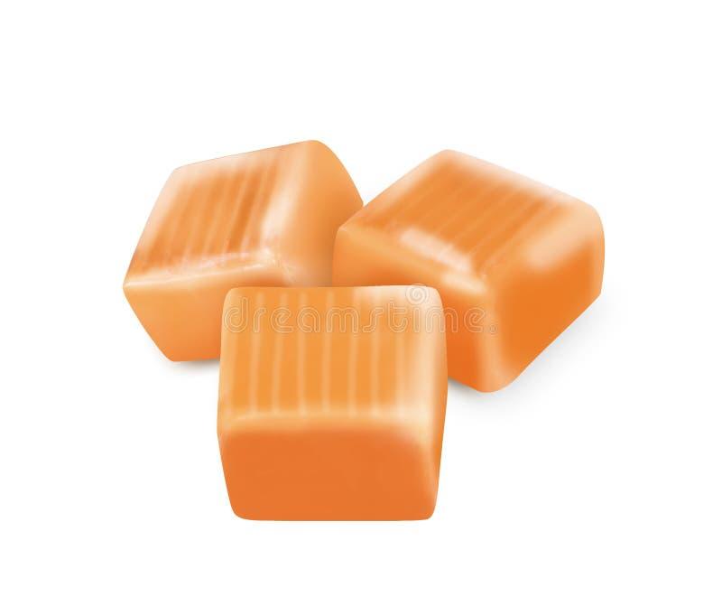 Caramel carré de sucrerie avec le chemin de coupure illustration de vecteur