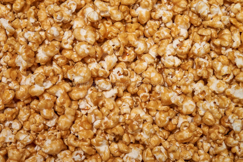 Caramel corn. Mound of delicious Caramel Corn background stock photography