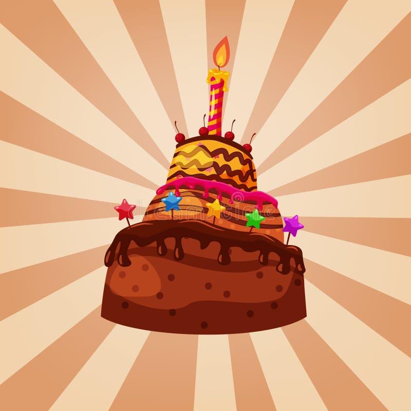 Caramel de chocolat de gâteau d'anniversaire décoré de la bougie de bonbons à cerises Style de bande dessin?e d'isolement par vec illustration libre de droits