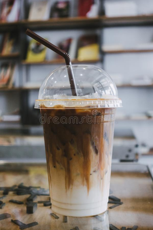 Close up Caramel frappe coffee in the coffee shop royalty free stock photos