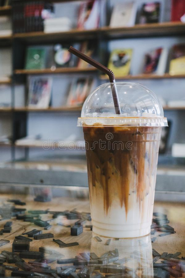 Caramel frappe coffee in the cafe. royalty free stock image