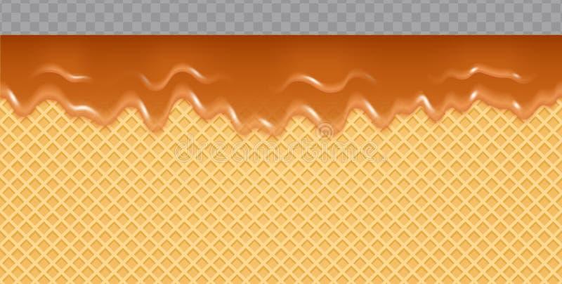 Caramel melted on Wafer Background. Transparent honey flow soft seamless texture. Vector Illustration stock illustration