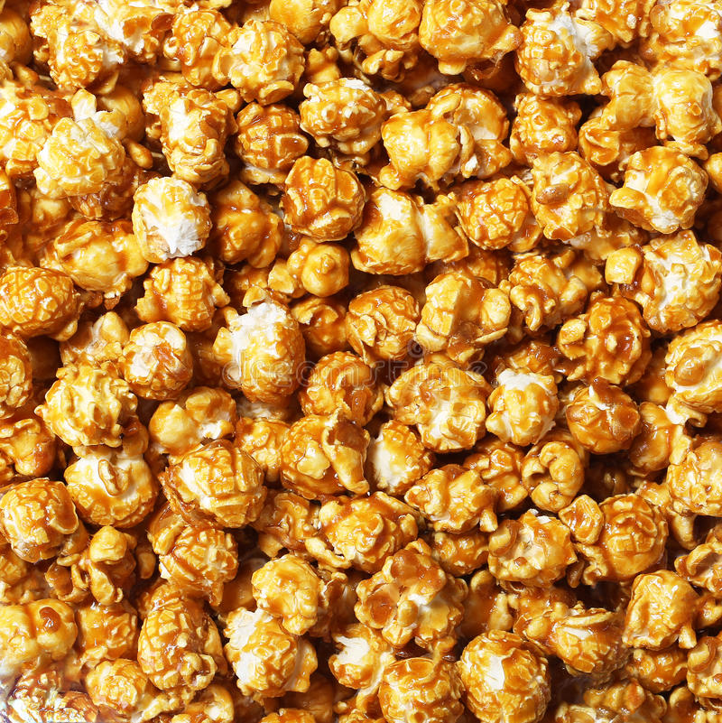 Caramel pop corn. Background close up stock photo