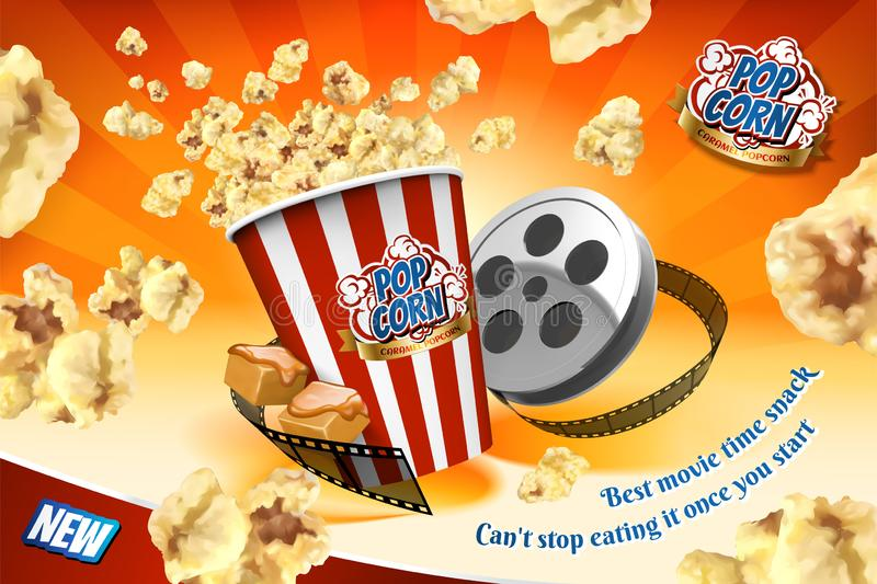 Caramel popcorn with film roll. Elements and corns flying in the air in 3d illustration, striped orange background royalty free illustration