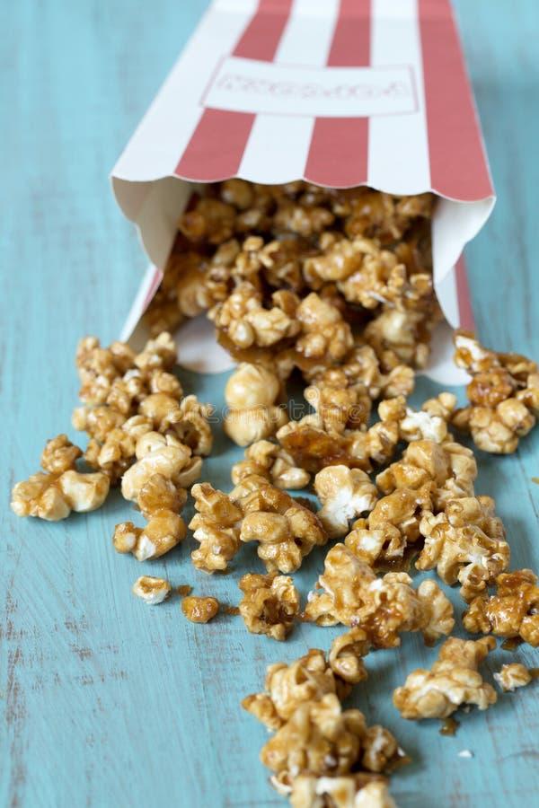 Caramel Popcorn Spilling Close Up stock images