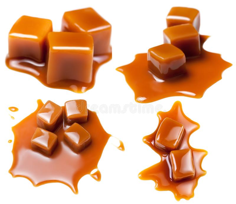 Caramel with sauce. Golden Butterscotch toffee candy caramels. S. Weets with copy space, macro royalty free stock images