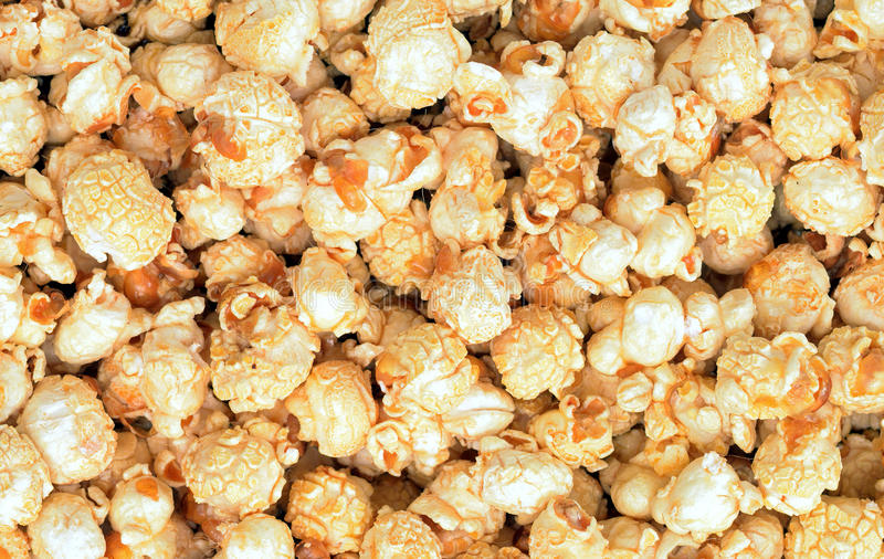 Caramel sweet pop corn. For background use royalty free stock image