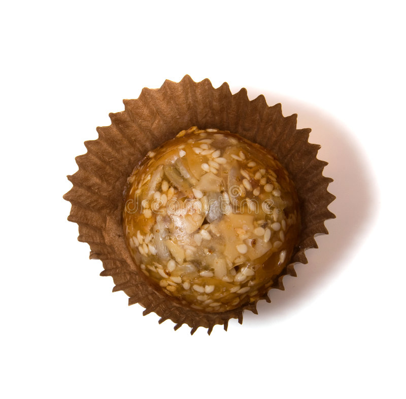 Caramel sweets with sunflower seeds stock photos