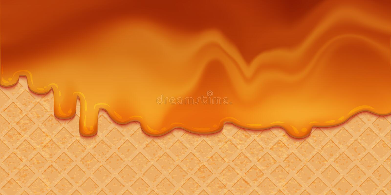 Caramel syrup melted on Wafer. Sweet Background. Vector Illustration. Tasty liquid cream. Ice cream ciryp on waffle layout vector illustration