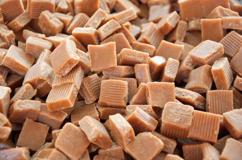 Caramel toffee squares stock photography