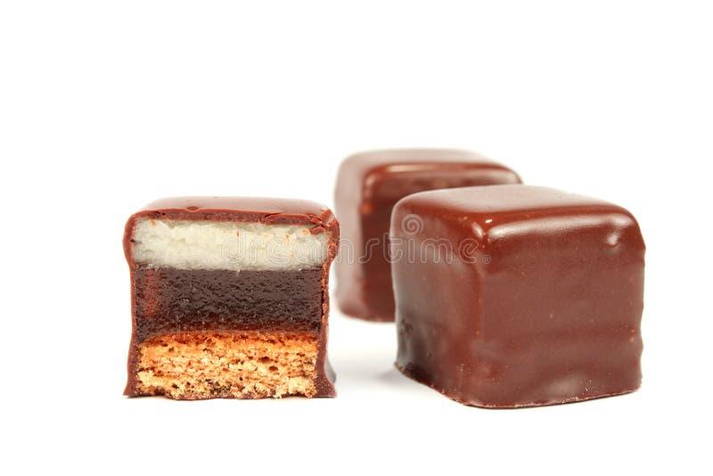 Caramella di cioccolato isolata fotografia stock