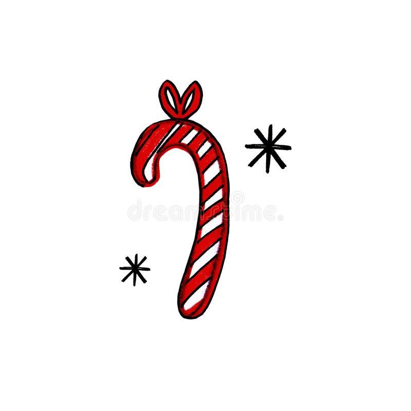 Caramella disegnata a mano di Natale del nuovo anno barrata e fiocchi di neve su fondo bianco royalty illustrazione gratis