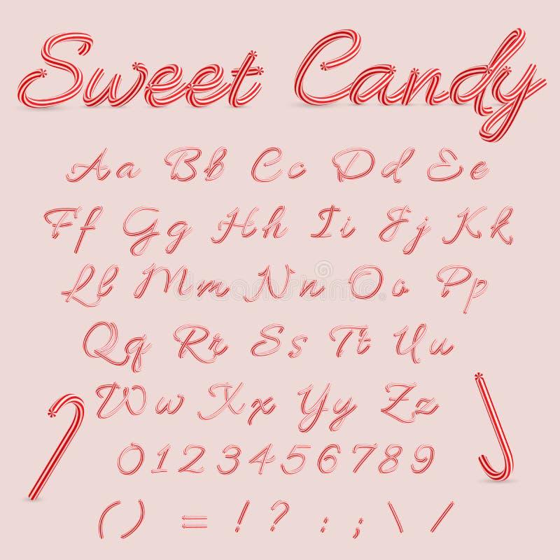 Caramella dolce Candy Cane Alphabet Lettere a strisce di alfabeto di Natale Passi l'alfabeto scritto da A all'illustrazione di ve illustrazione vettoriale