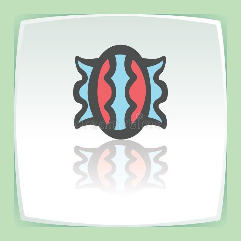 Caramella dolce del profilo di vettore nell'icona dell'involucro Logo moderno e pittogramma illustrazione di stock