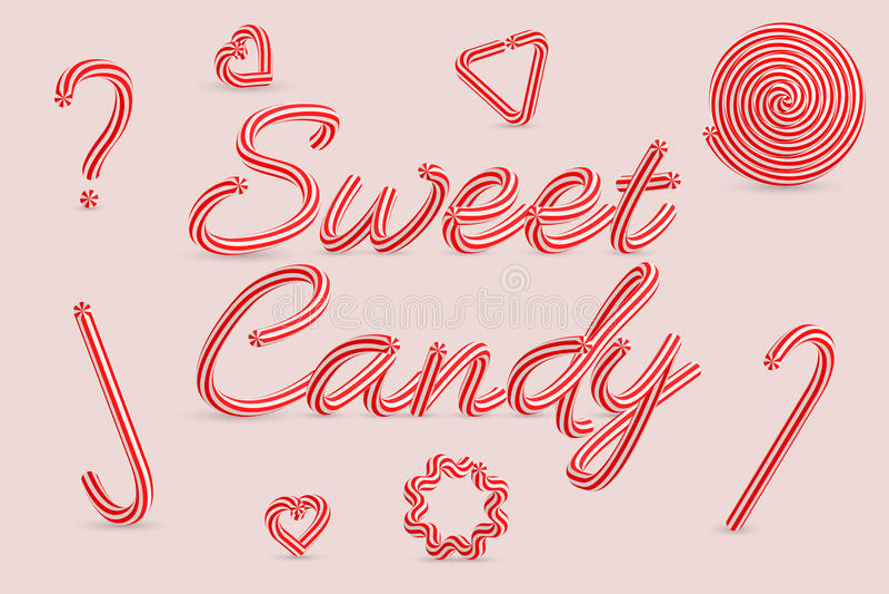 Caramella dolce Lettere a strisce della caramella di Natale Illustrazione di vettore illustrazione di stock