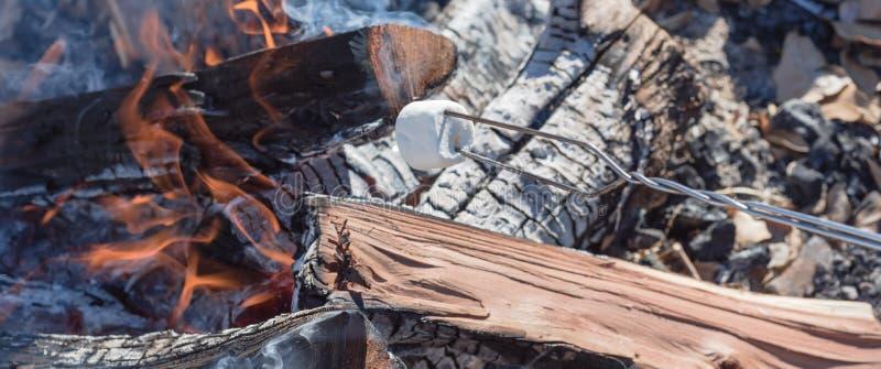 Caramella gommosa e molle di vista panoramica che arrostisce sopra il fuoco di accampamento all'aperto fotografia stock