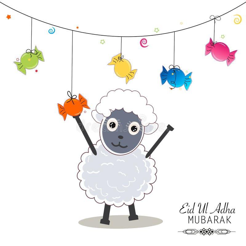Caramella sveglia della tenuta delle pecore Caramelle variopinte d'attaccatura Festival islamico del sacrificio, saluto di celebr illustrazione di stock