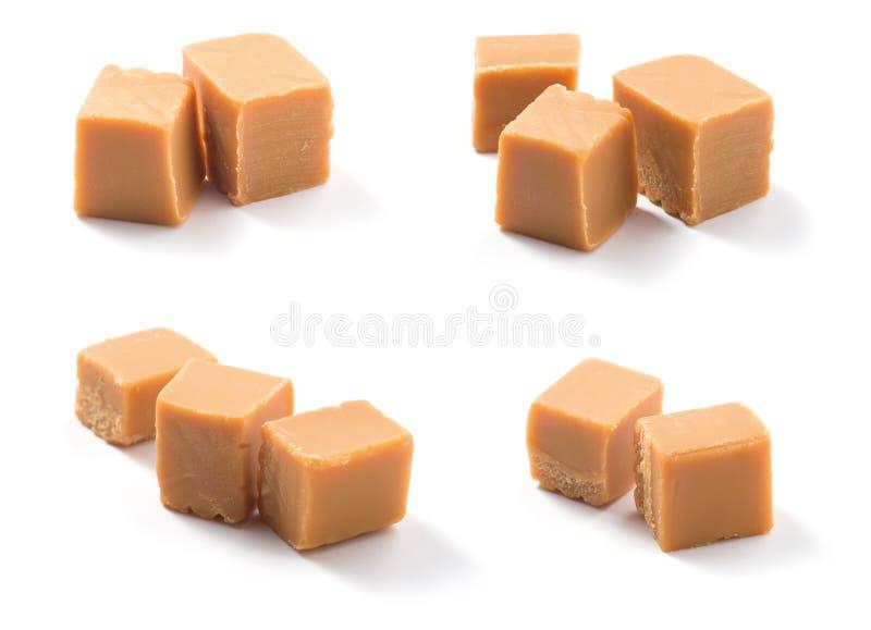 Caramelle del caramello su bianco immagini stock libere da diritti