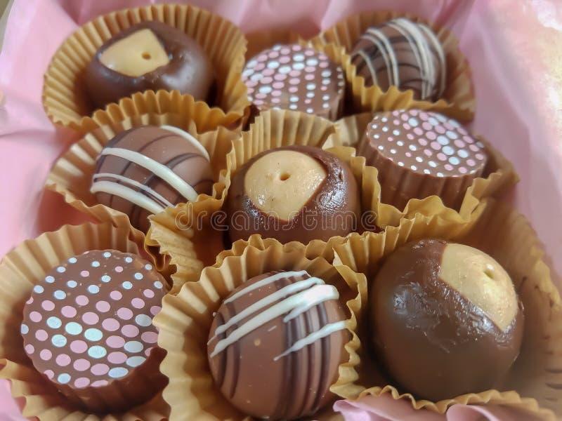 Caramelle di cioccolato con la caramella dell'ippocastano fotografia stock