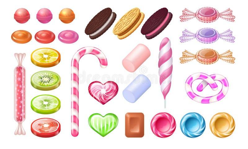 Caramelle e lecca-lecca Caramelle e biscotti di menta piperita dolci del cioccolato della gelatina Insieme realistico di vettore  illustrazione di stock