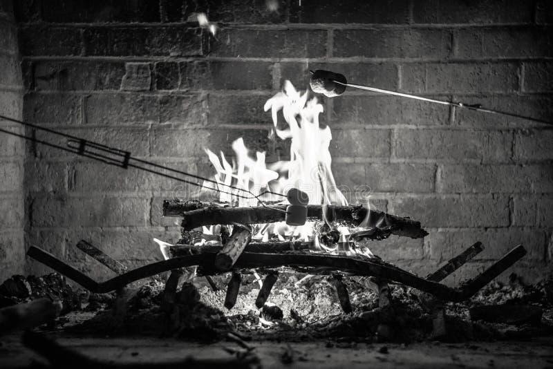 Caramelle gommosa e molle di torrefazione sopra un fuoco fotografie stock libere da diritti