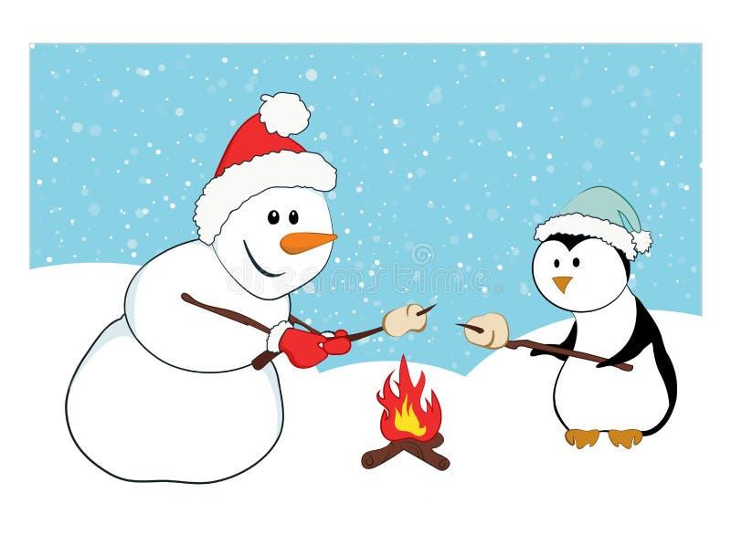 Caramelle gommosa e molle di torrefazione di un pinguino e di un pupazzo di neve illustrazione di stock