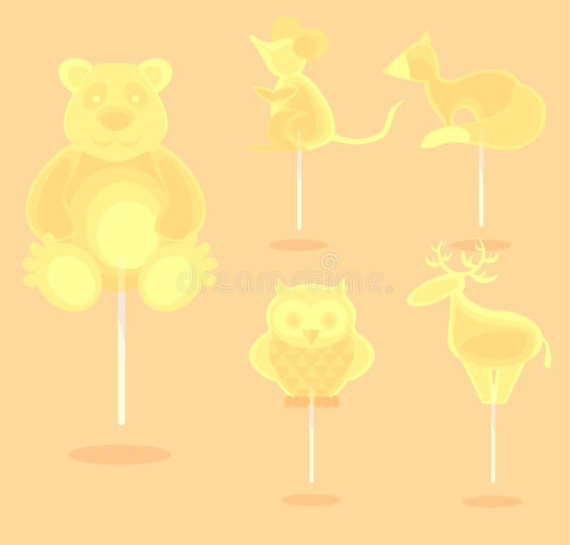 Caramelo amarillo del caramelo en un palillo ilustración del vector