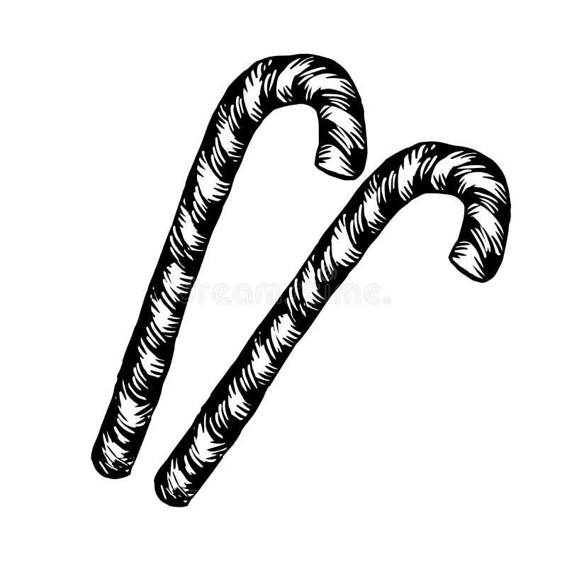 Caramelo Cane Sketch de la Navidad Ejemplo del vector de dos bastones de la Navidad en estilo del vintage en el fondo blanco ilustración del vector