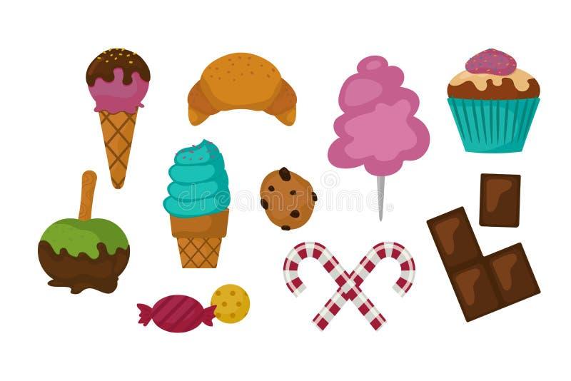 Caramelo colorido dos doces do feriado do bolo de chocolate do projeto e do petisco do pirulito dos confeitos de açúcar da sobrem ilustração do vetor