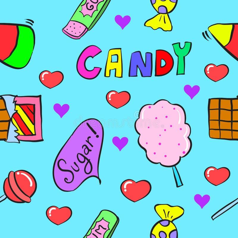 Caramelo común de la colección en estilo del garabato libre illustration