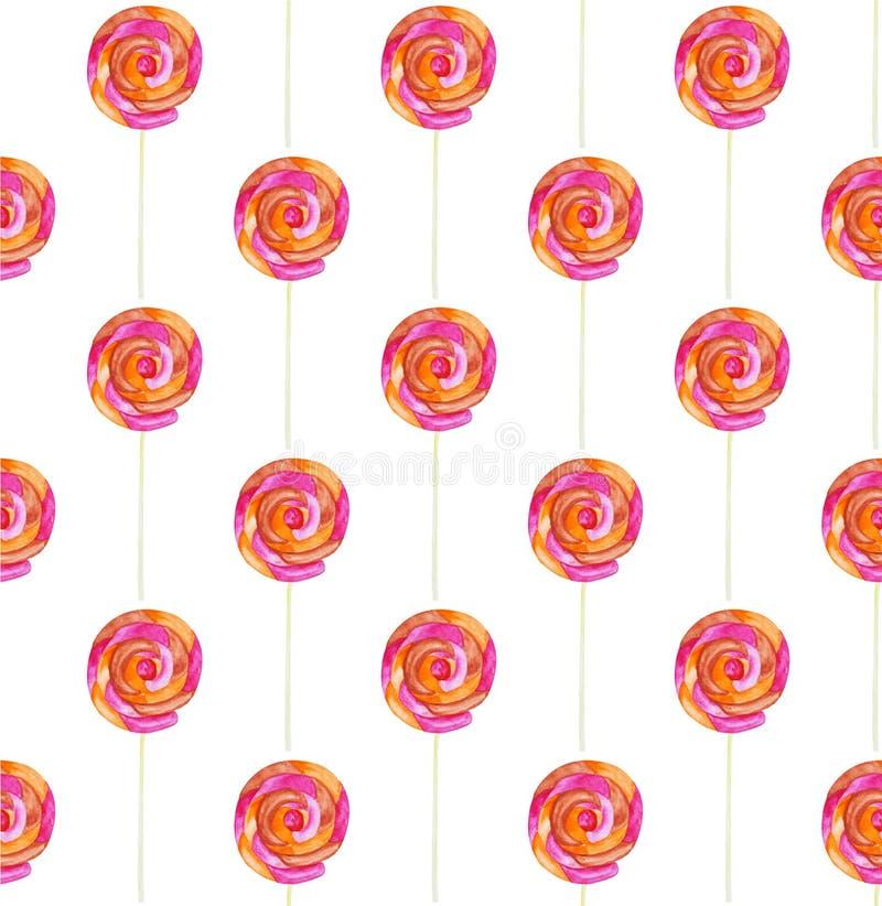 Caramelo de la acuarela y modelo inconsútil del lolipop en un fondo blanco libre illustration