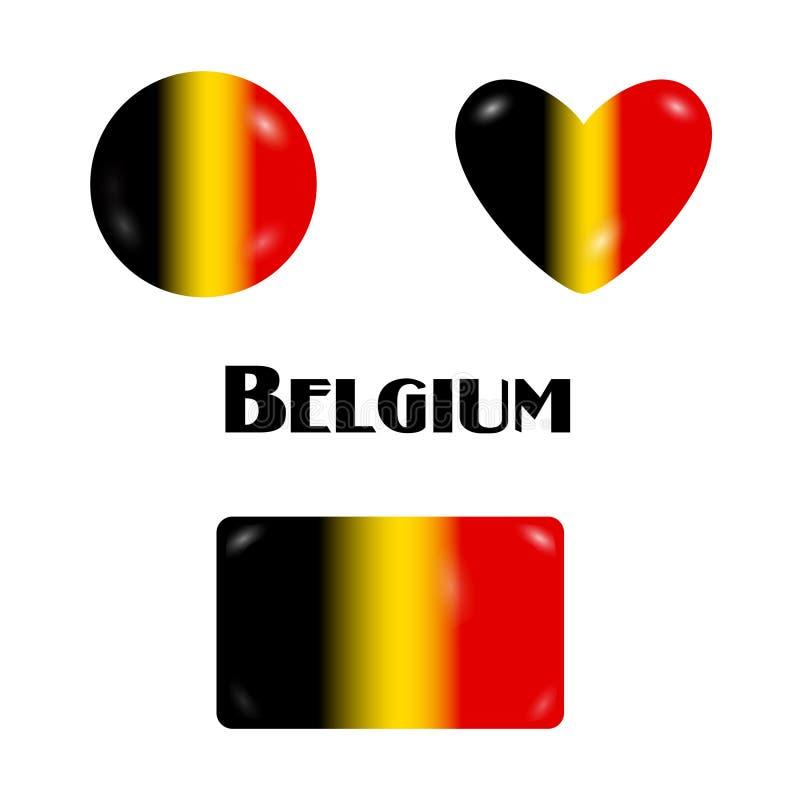 Caramelo de la bandera o caramelos belgas de los botón-insignia-pernos stock de ilustración