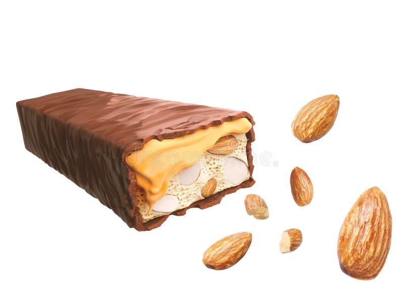 Caramelo de la barra de chocolate con la nuez o la almendra, sabor dulce, oblea curruscante stock de ilustración